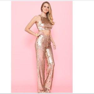 L'ATISTE Allie Champagne Sequin Pants Set